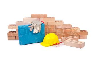 construction concept with helmet and toolkit | stock photo