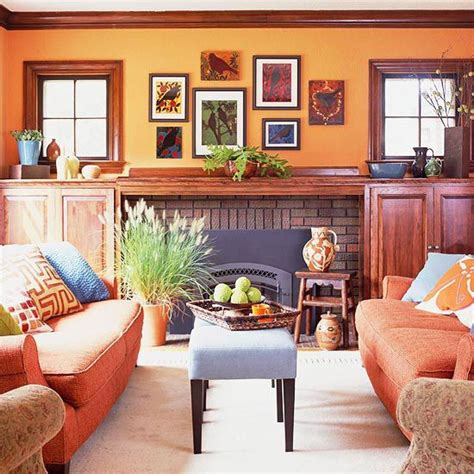 orange and brown living room decorating in orange green accents orange sofa and