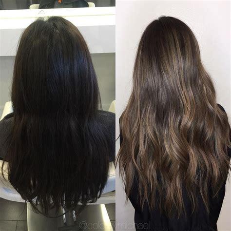 hair black black box dye correction to an ash tone balayage