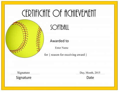 Softball Certificate Templates Free free softball certificate templates customize