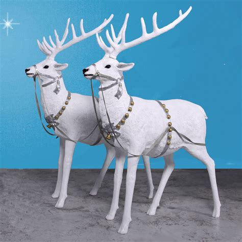66 5 quot high snow reindeer pair set of two