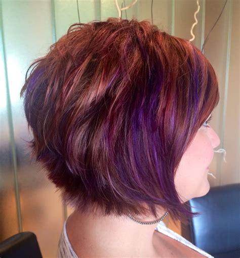 hi lites on short hair purplehair copper gold red hi lights with purple