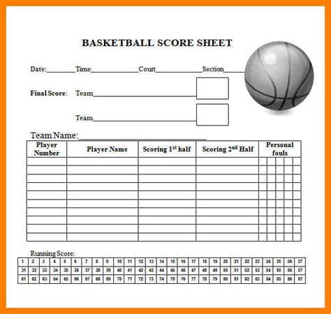 6 basketball score sheet lease template