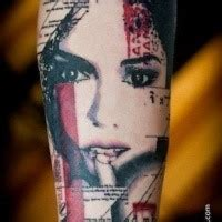 colored trash polka style forearm of seductive unique black ink collarbone of seductive and