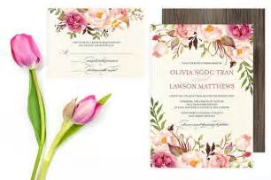 floral wedding invitation set do it yourself printable pink peonies roses flower wedding