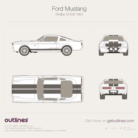 1967 ford mustang drawings outlines