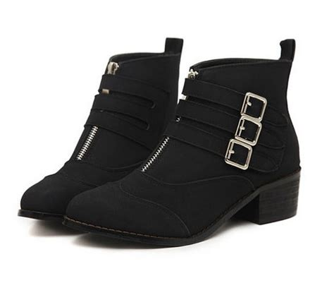Zipper Chunky Heel Ankle Boots european style buckle front zipper chunky heel ankle boots