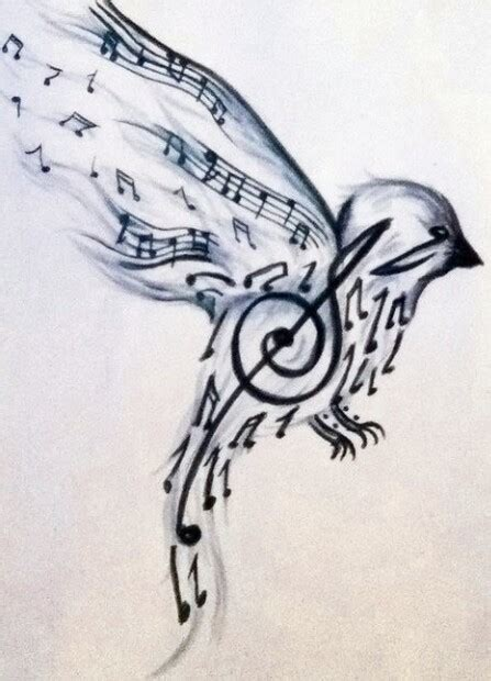 music note bird tattoo note bird wrist tatoo ideas