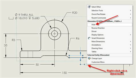 solidworks rotate section view how to hide solidworks drawing dimensions and make them