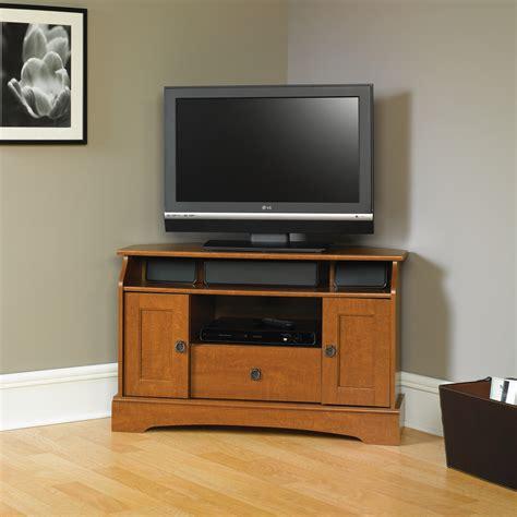 Furniture. Modern White Corner Tv Stand With Media Storage