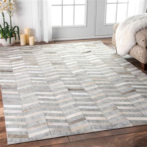 leather shag rug 8x10 nuloom handmade modern patchwork herringbone leather viscose silver rug 8 ft x 10 ft free