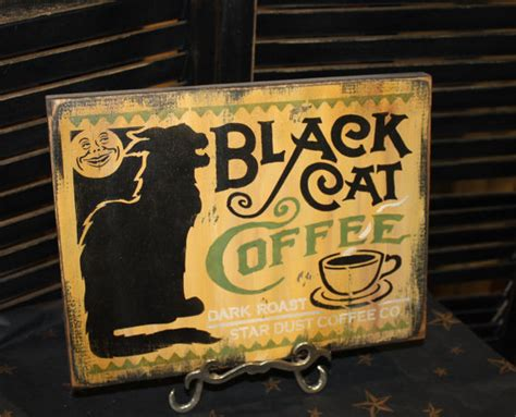 halloween coffee items similar to halloween sign black cat coffee sign