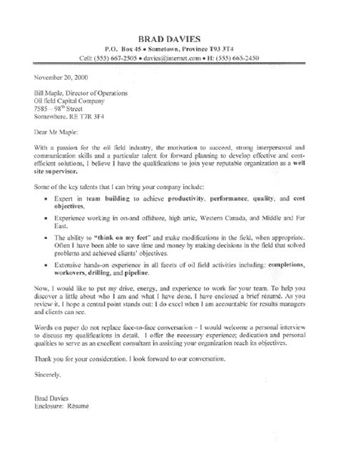 Cover Letter For And Gas Resume Field Supervisor Cover Letter Sle All Trades