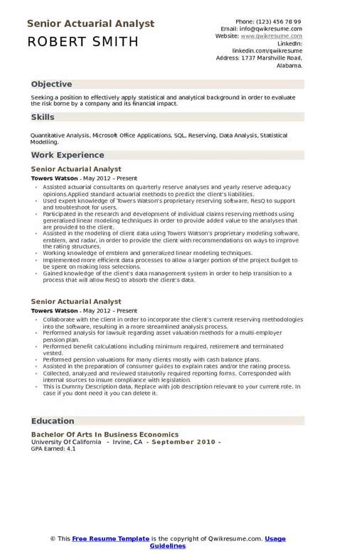 Actuarial Assistant Sle Resume by Actuarial Analyst Resume Sles Qwikresume