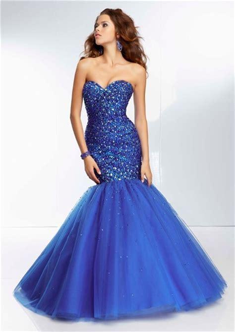Pretty Royal Blue Mermaid Wedding Dresses   Cherry Marry