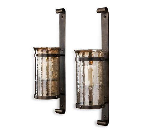 Rustic Sconces Mathis Rustic Wall Hurricane Sconce Pair Kathy Kuo Home