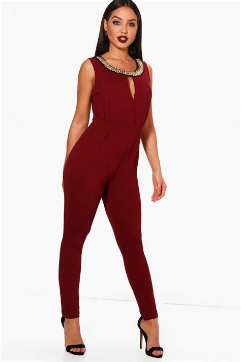 Legged Jumpsuits by Boohoo Womens Boutique Zoe Necklace Trim Leg