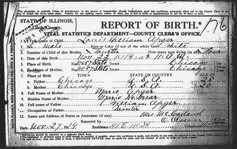 Chicago Birth Records Birth Certificates Of Children Of William And Demar Apgar Chicago Cook County