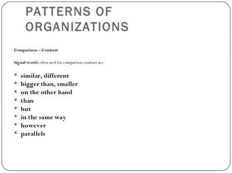 which pattern of organization works best with a demonstrative presentation pattern of organization
