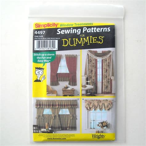 curtain patterns for dummies home decorating window treatments simplicity sewing