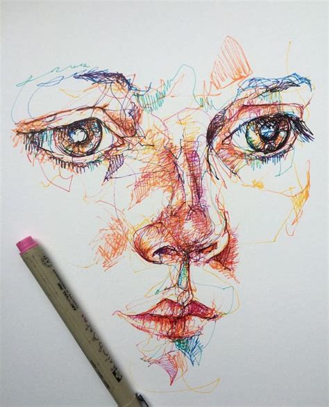 Sketches In Pen by Coloured Pen Liner Portrait Drawing Sketch Line