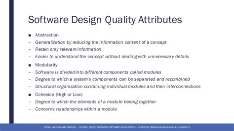 software design quality guidelines and attributes 2 software design object oriented software engineering
