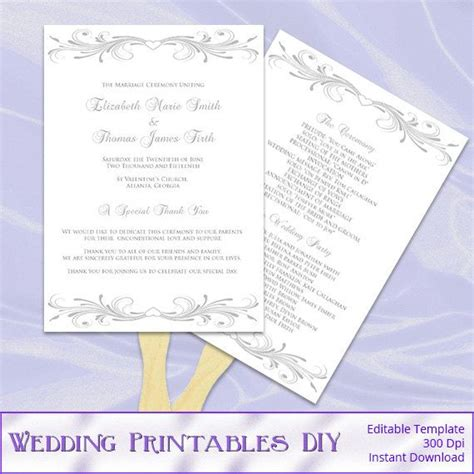 wedding program fan template silver wedding fan program template diy printable gray