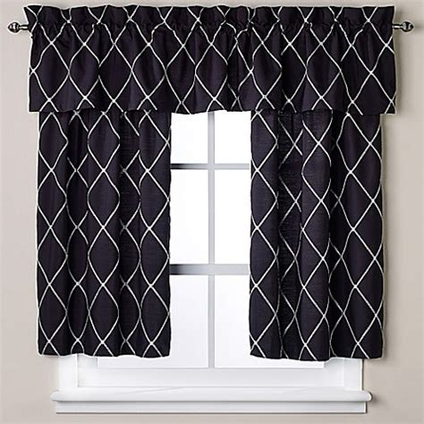 Black Tier Curtains Buy Wellington 45 Inch Window Curtain Tier Pair In Black White From Bed Bath Beyond