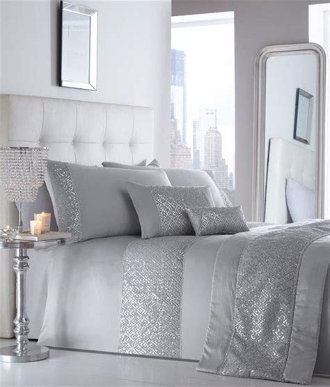 New Luxury Diamante Bedding Duvet Cover Bed Sets Duvet Set New Silver Grey Sequin Diamante Luxury