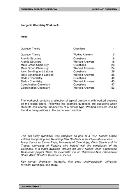 Chemistry Development Of The Atomic Theory Worksheet Answers by Year Undergraduate Inorganic Chemistry Workbook