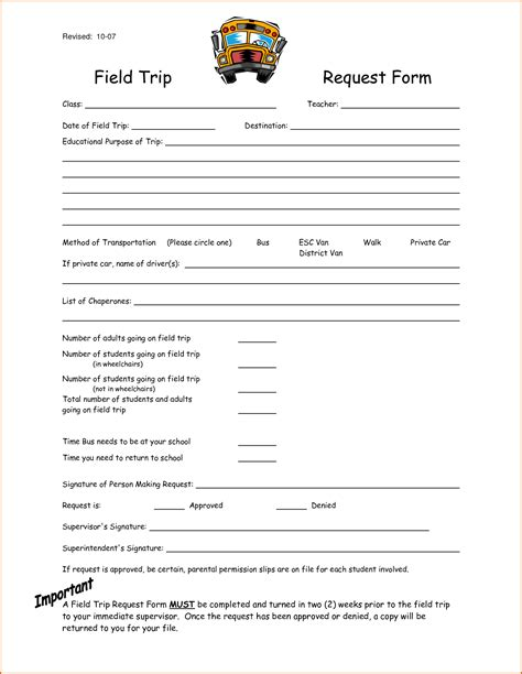 Field Trip Form Template 7 field trip form template authorizationletters org