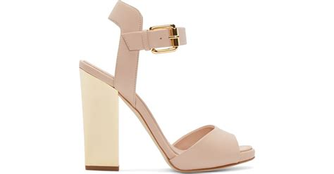 Giuseppe Zanotti Pink And Black Sandals by Giuseppe Zanotti Pink Metallic Heel Sandals In Pink Lyst