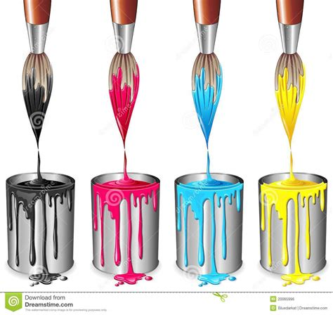 four color process tins of paint and brush four color process royalty free