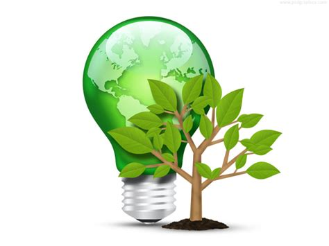 green light bulb and tree psd psdgraphics