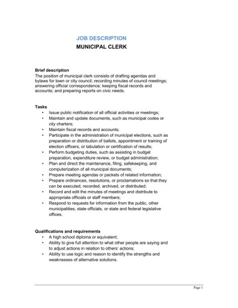 municipal clerk description template sle form biztree