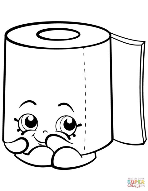 coloring papers sweat leafy roll of toilet paper shopkin coloring page