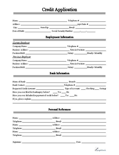 Sle Credit Application Form For Small Business Free Printable Business Credit Application Form Form Generic