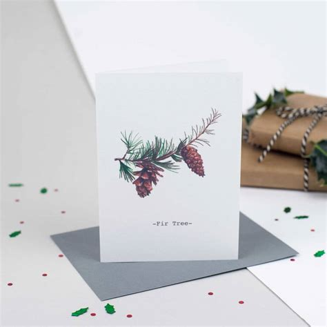 fir tree personalised illustrated christmas card by jenny