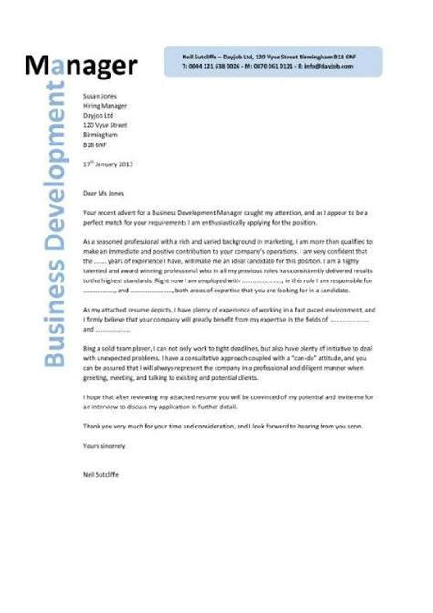 business management cover letter exles business development manager cv template managers resume