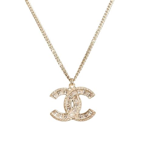chanel swarovski logo pendant necklace at 1stdibs