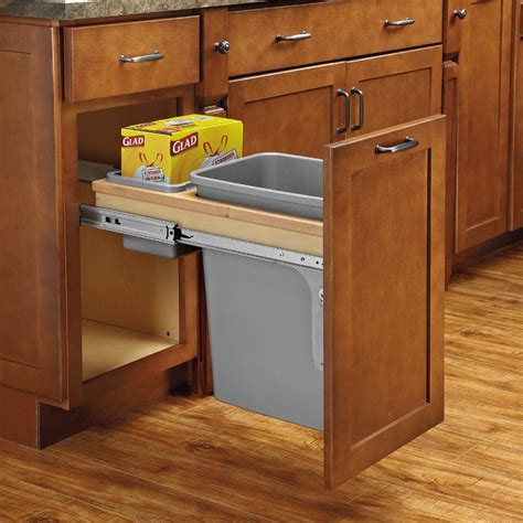 kitchen cabinet trash rev a shelf single trash pullout 50 quart w soft close