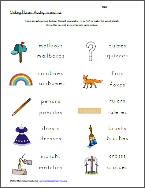 s and es endings worksheets plurals add s or es mamas learning corner