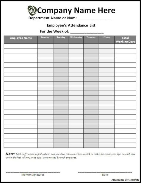 10 Attendance List Templates Free Printable Word Excel Formats Sleformats Org Signature List Template