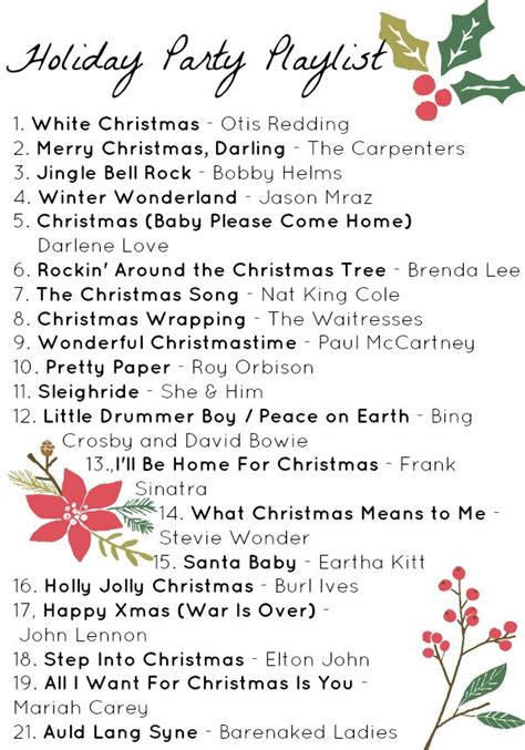 free printable holiday playlist more christmas songs on