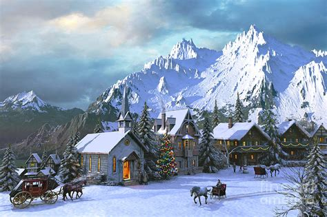 alpine christmas digital art by dominic davison