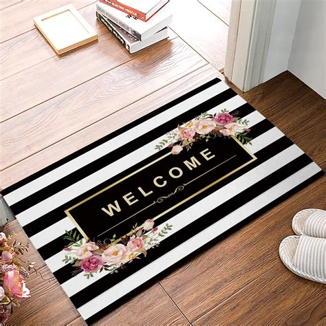 black and white stripe floral welcome door mats kitchen