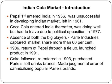 introduction of pepsi slideshare cola wars in india