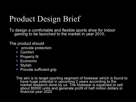 design brief for a new product shoe future product brief design
