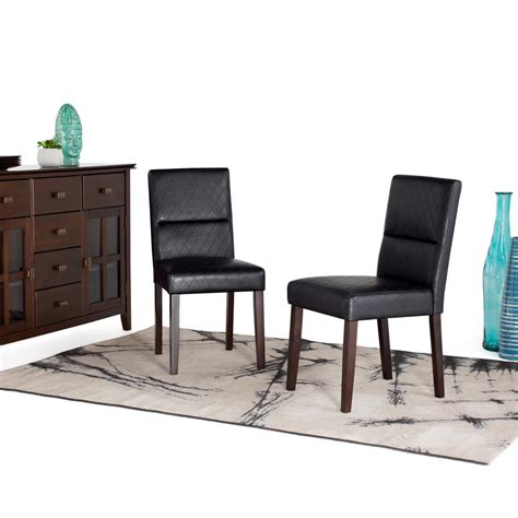 Faux Leather Parsons Dining Room Chairs by Simpli Home Ashford Black Faux Leather Parsons Dining