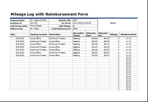 vehicle mileage log  reimbursement form word excel